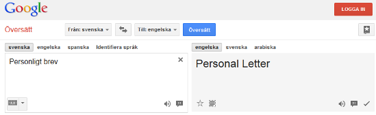 översätta cv med google translate