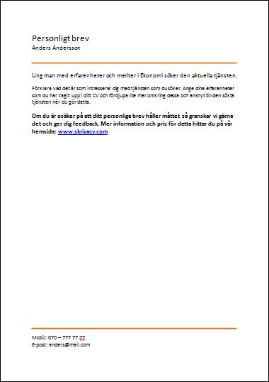 personligt brev gymnasieelev Orange tema