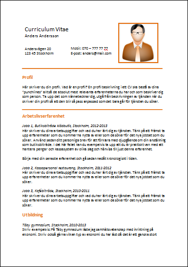 cv gymnasieelev Orange tema